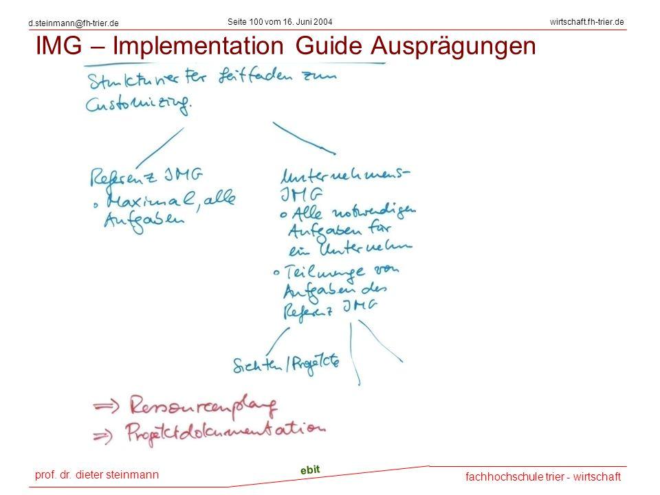 prof. dr. dieter steinmann Seite 100 vom 16. Juni 2004 ebit fachhochschule trier - wirtschaft wirtschaft.fh-trier.de d.steinmann@fh-trier.de IMG – Imp