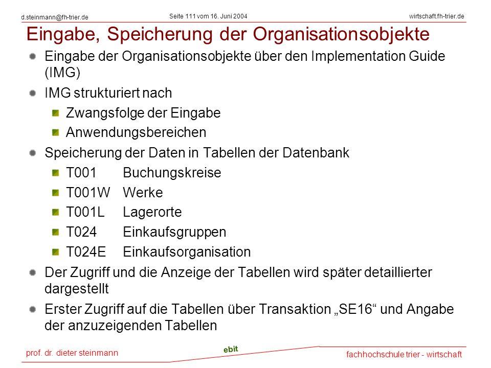 prof. dr. dieter steinmann Seite 111 vom 16. Juni 2004 ebit fachhochschule trier - wirtschaft wirtschaft.fh-trier.de d.steinmann@fh-trier.de Eingabe,