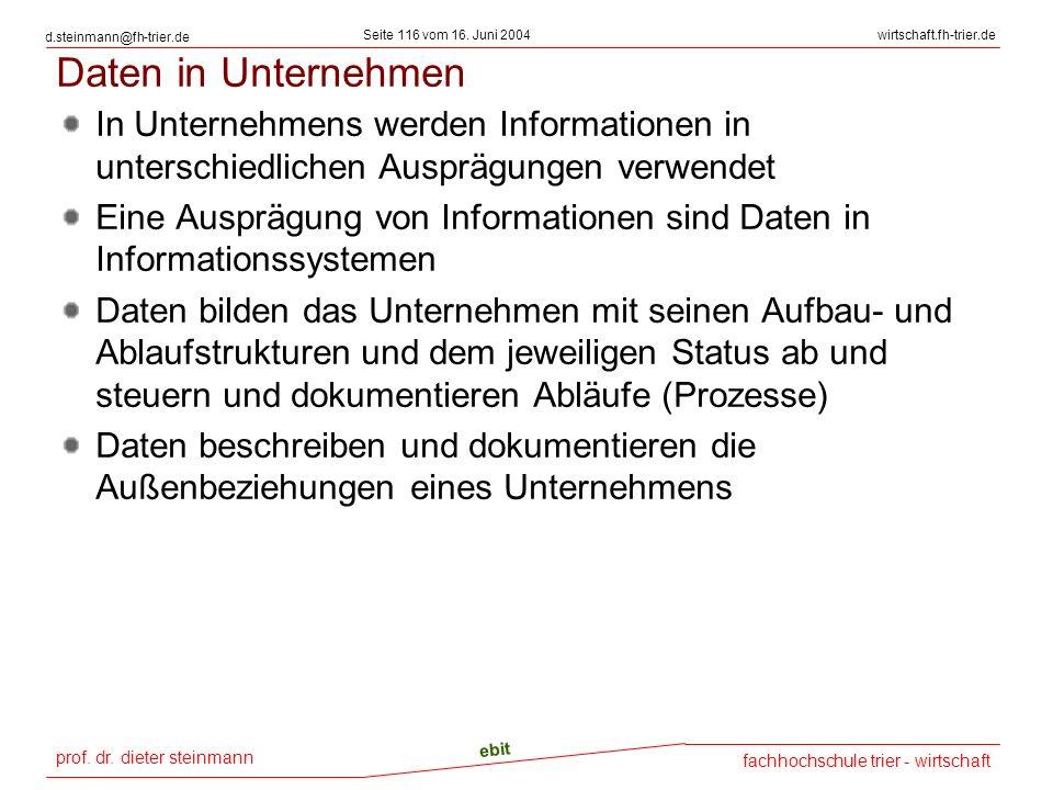 prof. dr. dieter steinmann Seite 116 vom 16. Juni 2004 ebit fachhochschule trier - wirtschaft wirtschaft.fh-trier.de d.steinmann@fh-trier.de Daten in