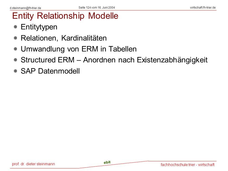 prof. dr. dieter steinmann Seite 124 vom 16. Juni 2004 ebit fachhochschule trier - wirtschaft wirtschaft.fh-trier.de d.steinmann@fh-trier.de Entity Re
