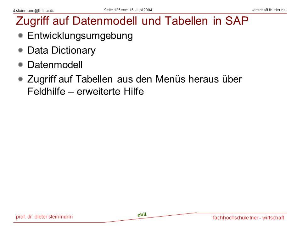 prof. dr. dieter steinmann Seite 125 vom 16. Juni 2004 ebit fachhochschule trier - wirtschaft wirtschaft.fh-trier.de d.steinmann@fh-trier.de Zugriff a