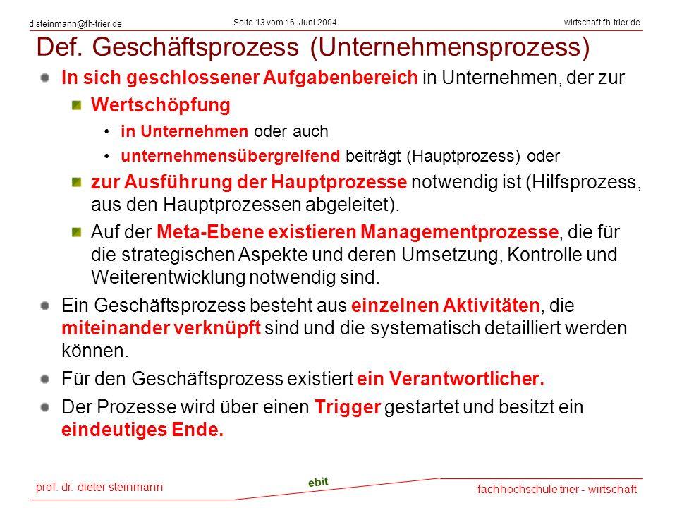 prof. dr. dieter steinmann Seite 13 vom 16. Juni 2004 ebit fachhochschule trier - wirtschaft wirtschaft.fh-trier.de d.steinmann@fh-trier.de Def. Gesch