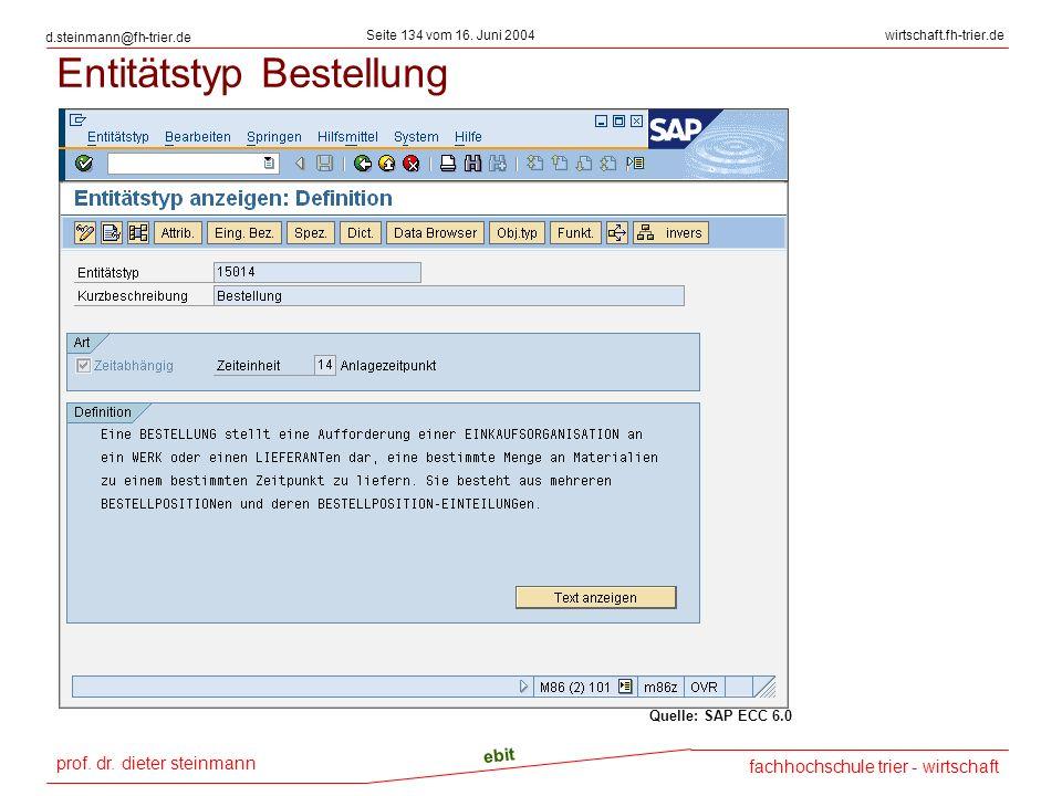 prof. dr. dieter steinmann Seite 134 vom 16. Juni 2004 ebit fachhochschule trier - wirtschaft wirtschaft.fh-trier.de d.steinmann@fh-trier.de Entitätst