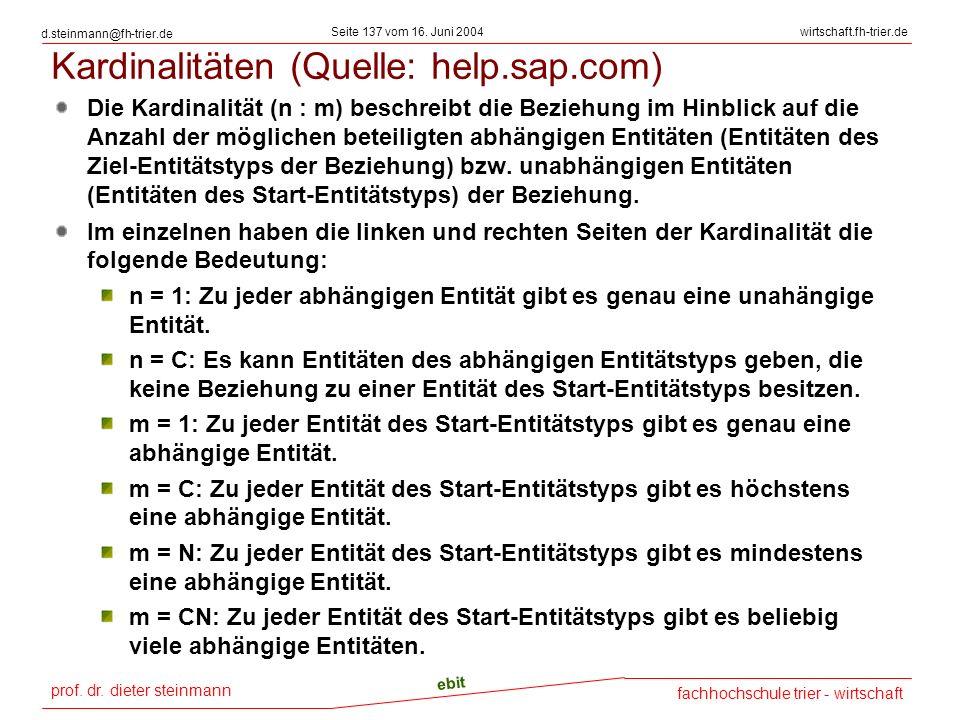 prof. dr. dieter steinmann Seite 137 vom 16. Juni 2004 ebit fachhochschule trier - wirtschaft wirtschaft.fh-trier.de d.steinmann@fh-trier.de Kardinali