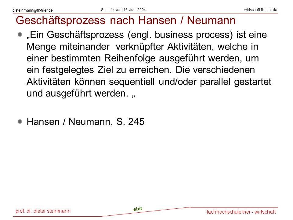prof. dr. dieter steinmann Seite 14 vom 16. Juni 2004 ebit fachhochschule trier - wirtschaft wirtschaft.fh-trier.de d.steinmann@fh-trier.de Geschäftsp