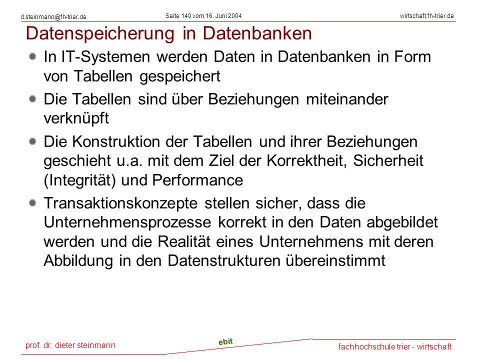 prof. dr. dieter steinmann Seite 140 vom 16. Juni 2004 ebit fachhochschule trier - wirtschaft wirtschaft.fh-trier.de d.steinmann@fh-trier.de Datenspei