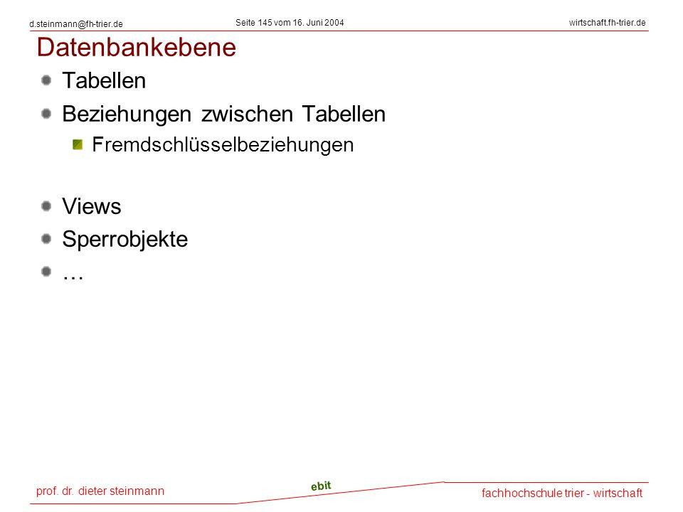 prof. dr. dieter steinmann Seite 145 vom 16. Juni 2004 ebit fachhochschule trier - wirtschaft wirtschaft.fh-trier.de d.steinmann@fh-trier.de Datenbank