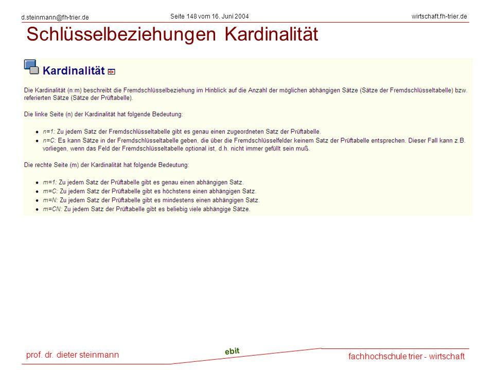 prof. dr. dieter steinmann Seite 148 vom 16. Juni 2004 ebit fachhochschule trier - wirtschaft wirtschaft.fh-trier.de d.steinmann@fh-trier.de Schlüssel