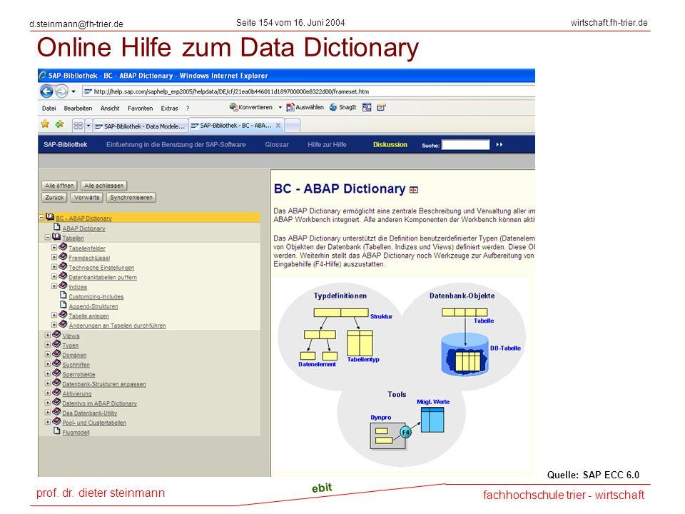 prof. dr. dieter steinmann Seite 154 vom 16. Juni 2004 ebit fachhochschule trier - wirtschaft wirtschaft.fh-trier.de d.steinmann@fh-trier.de Online Hi