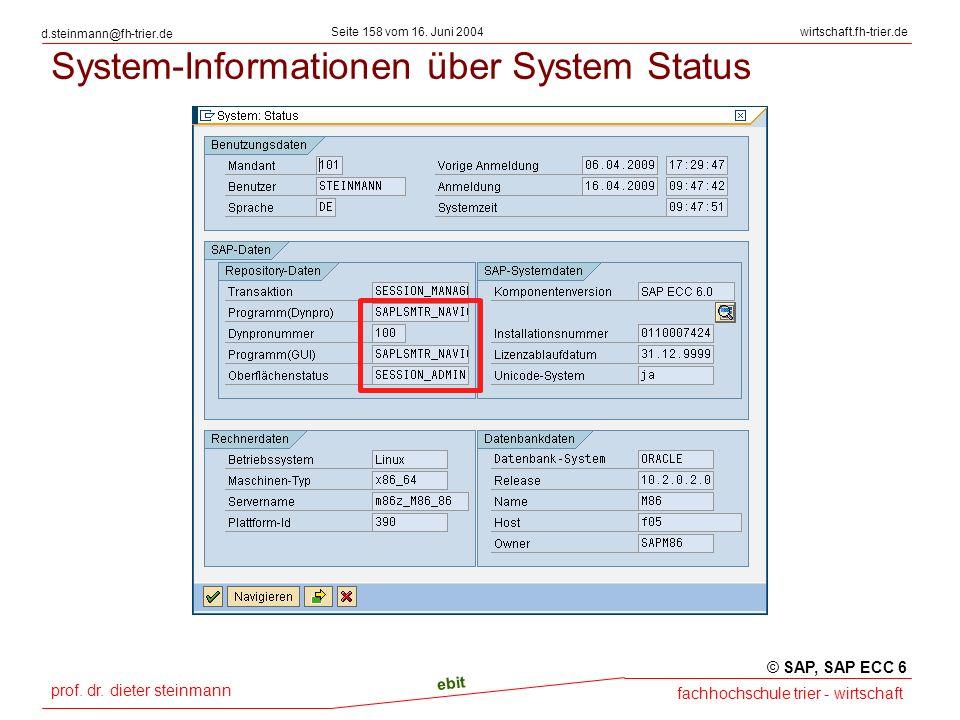 prof. dr. dieter steinmann Seite 158 vom 16. Juni 2004 ebit fachhochschule trier - wirtschaft wirtschaft.fh-trier.de d.steinmann@fh-trier.de System-In
