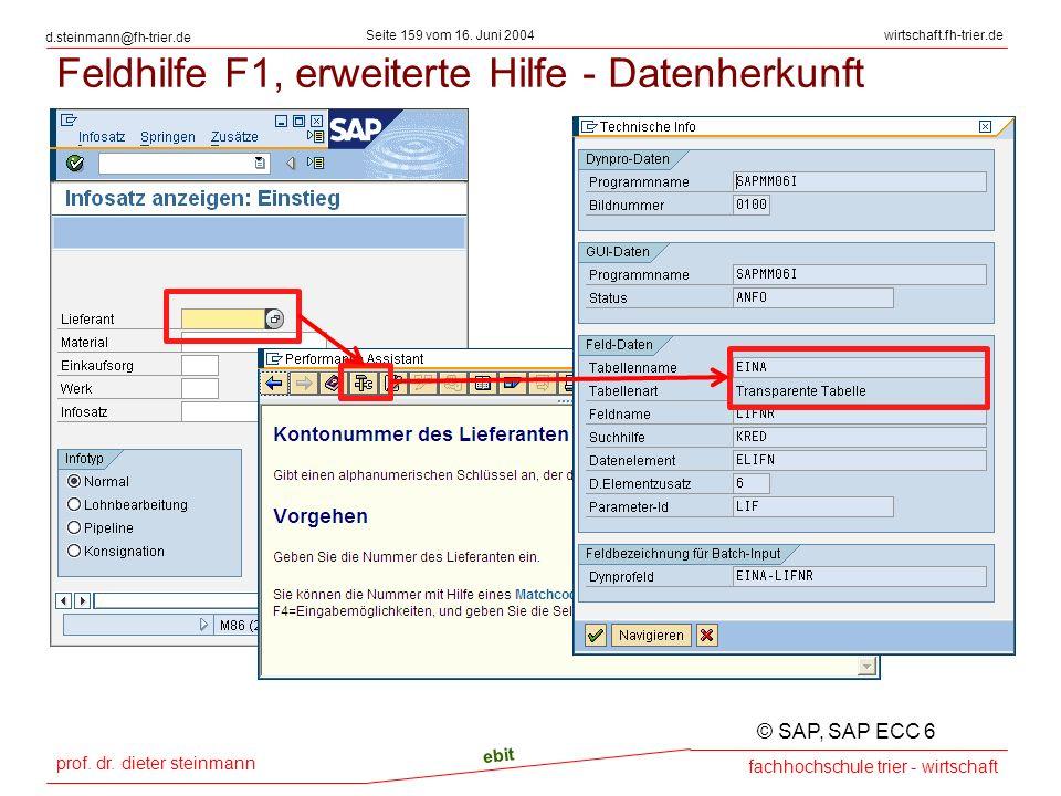 prof. dr. dieter steinmann Seite 159 vom 16. Juni 2004 ebit fachhochschule trier - wirtschaft wirtschaft.fh-trier.de d.steinmann@fh-trier.de Feldhilfe