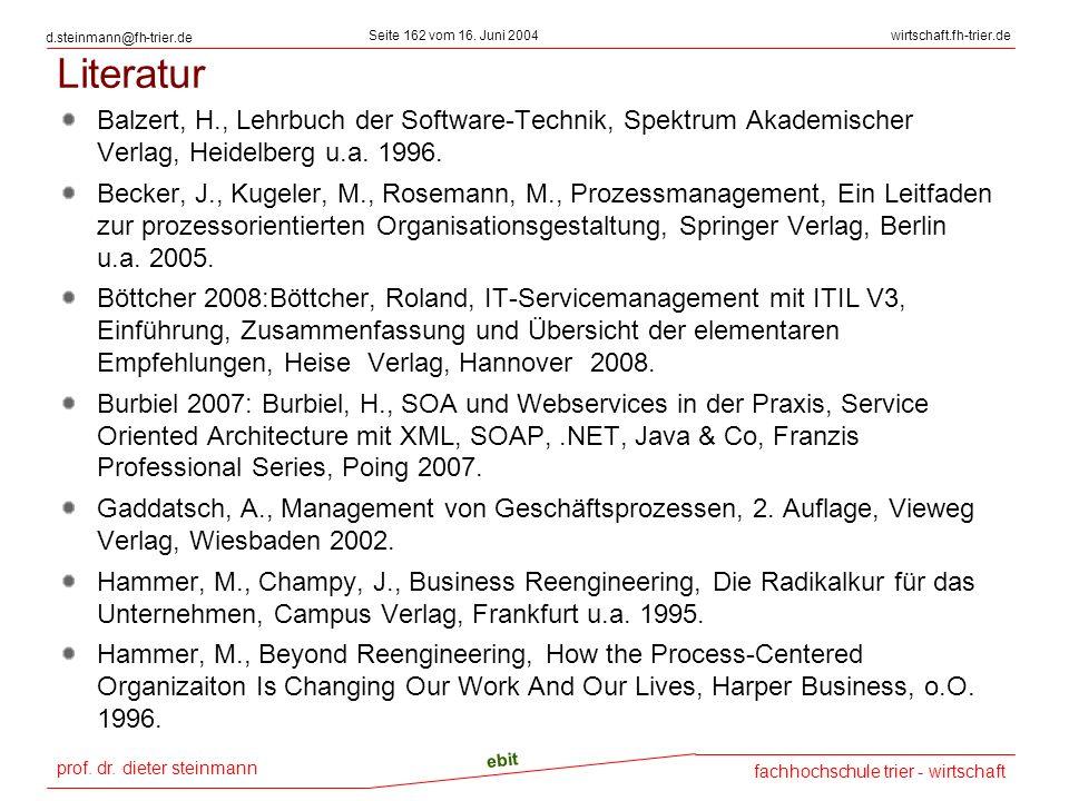 prof. dr. dieter steinmann Seite 162 vom 16. Juni 2004 ebit fachhochschule trier - wirtschaft wirtschaft.fh-trier.de d.steinmann@fh-trier.de Literatur