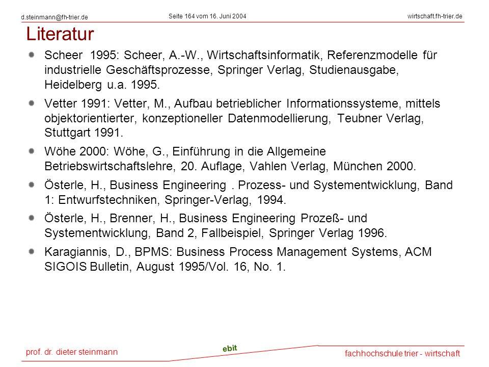 prof. dr. dieter steinmann Seite 164 vom 16. Juni 2004 ebit fachhochschule trier - wirtschaft wirtschaft.fh-trier.de d.steinmann@fh-trier.de Literatur