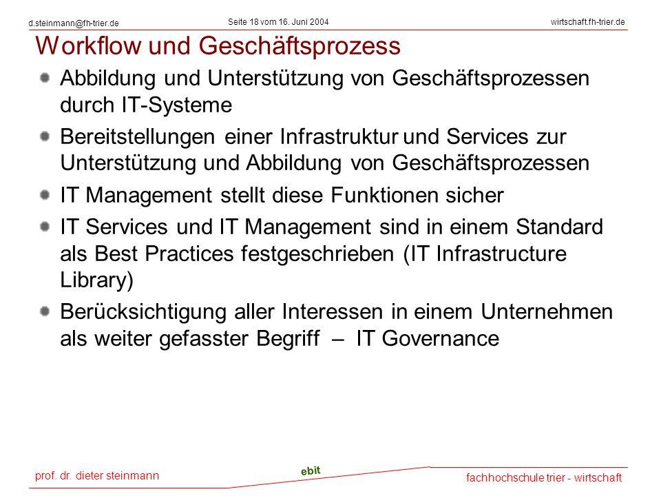 prof. dr. dieter steinmann Seite 18 vom 16. Juni 2004 ebit fachhochschule trier - wirtschaft wirtschaft.fh-trier.de d.steinmann@fh-trier.de Workflow u