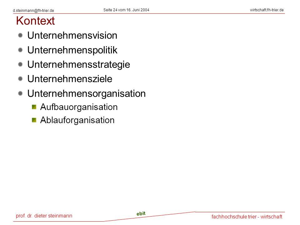 prof. dr. dieter steinmann Seite 24 vom 16. Juni 2004 ebit fachhochschule trier - wirtschaft wirtschaft.fh-trier.de d.steinmann@fh-trier.de Kontext Un