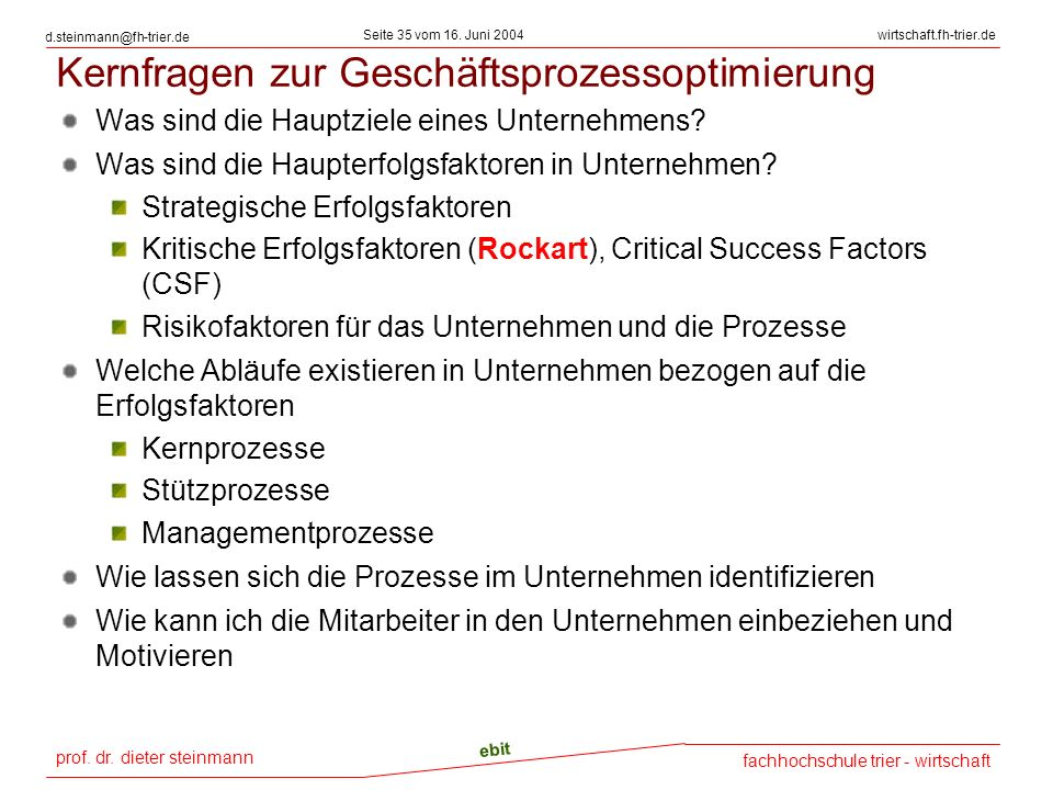 prof. dr. dieter steinmann Seite 35 vom 16. Juni 2004 ebit fachhochschule trier - wirtschaft wirtschaft.fh-trier.de d.steinmann@fh-trier.de Kernfragen