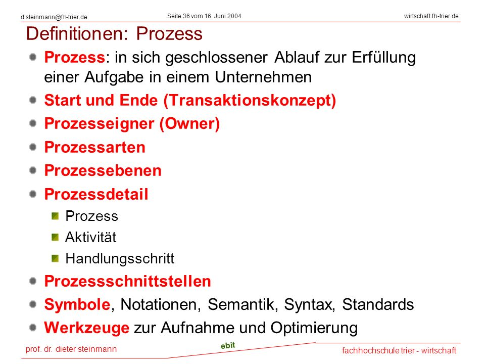 prof. dr. dieter steinmann Seite 36 vom 16. Juni 2004 ebit fachhochschule trier - wirtschaft wirtschaft.fh-trier.de d.steinmann@fh-trier.de Definition