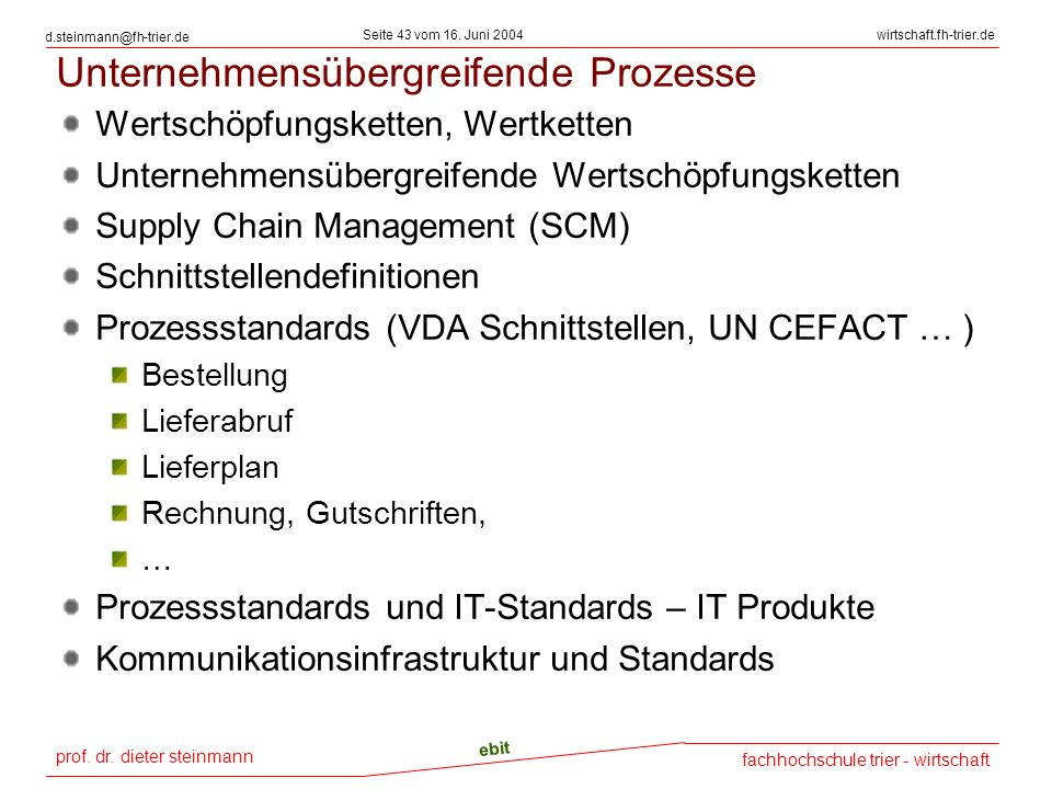 prof. dr. dieter steinmann Seite 43 vom 16. Juni 2004 ebit fachhochschule trier - wirtschaft wirtschaft.fh-trier.de d.steinmann@fh-trier.de Unternehme