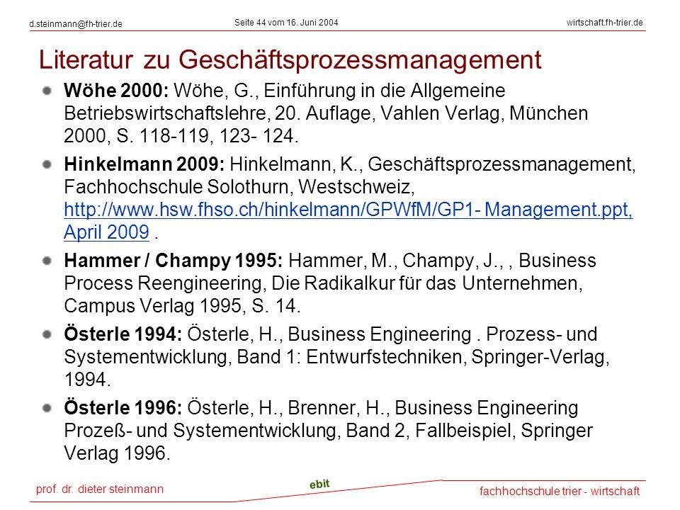 prof. dr. dieter steinmann Seite 44 vom 16. Juni 2004 ebit fachhochschule trier - wirtschaft wirtschaft.fh-trier.de d.steinmann@fh-trier.de Literatur