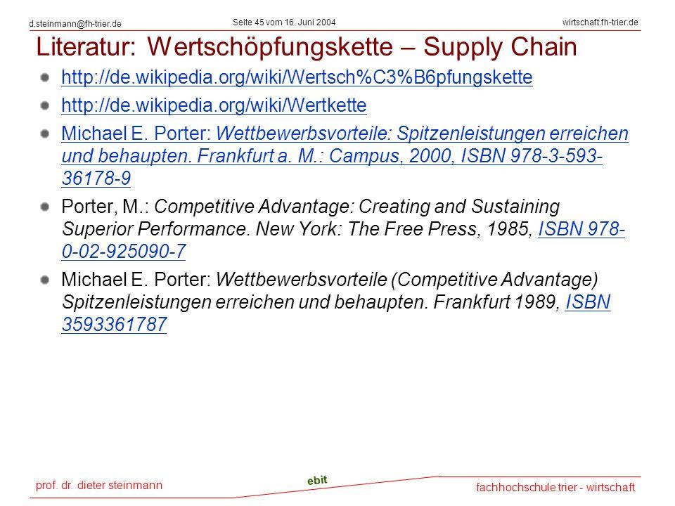prof. dr. dieter steinmann Seite 45 vom 16. Juni 2004 ebit fachhochschule trier - wirtschaft wirtschaft.fh-trier.de d.steinmann@fh-trier.de Literatur: