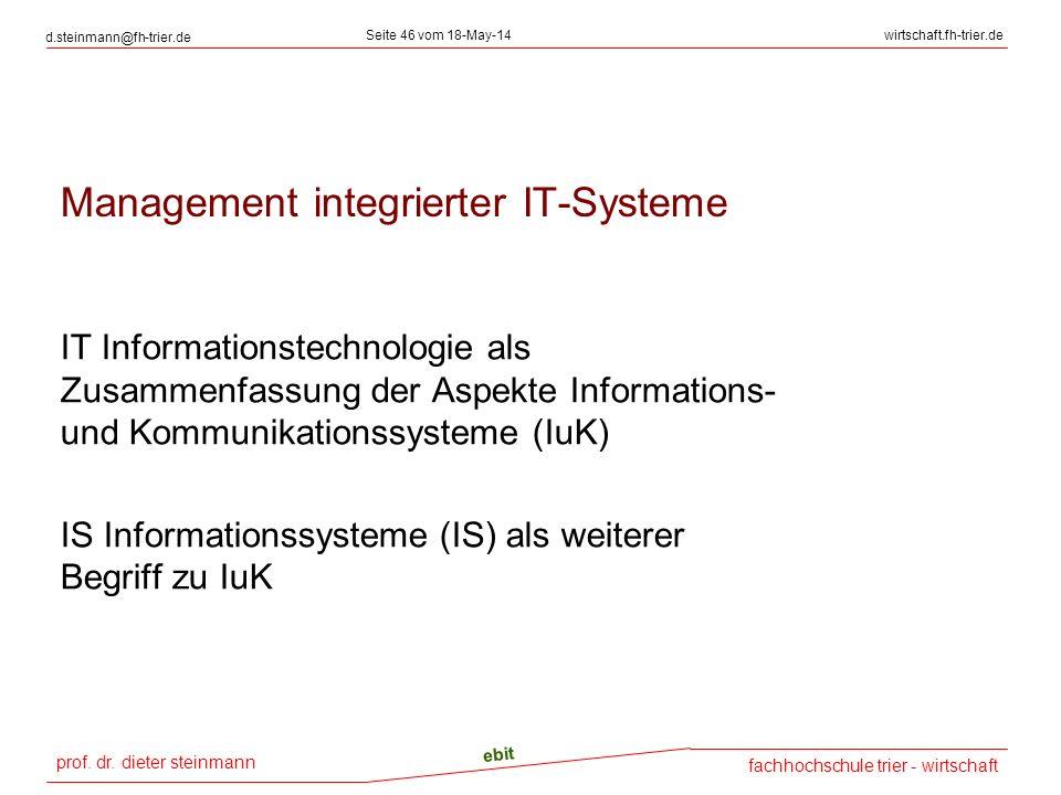 prof. dr. dieter steinmann d.steinmann@fh-trier.de Seite 46 vom 18-May-14wirtschaft.fh-trier.de fachhochschule trier - wirtschaft ebit Management inte