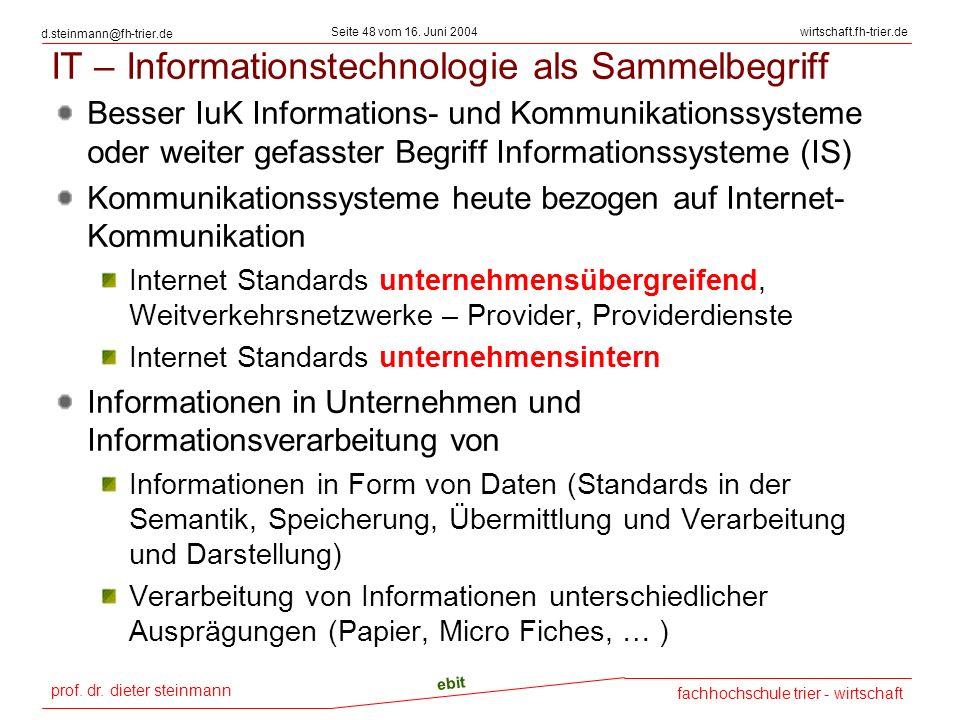 prof. dr. dieter steinmann Seite 48 vom 16. Juni 2004 ebit fachhochschule trier - wirtschaft wirtschaft.fh-trier.de d.steinmann@fh-trier.de IT – Infor