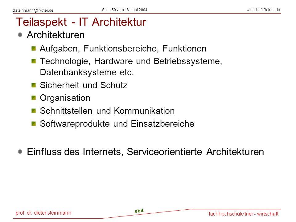 prof. dr. dieter steinmann Seite 50 vom 16. Juni 2004 ebit fachhochschule trier - wirtschaft wirtschaft.fh-trier.de d.steinmann@fh-trier.de Teilaspekt