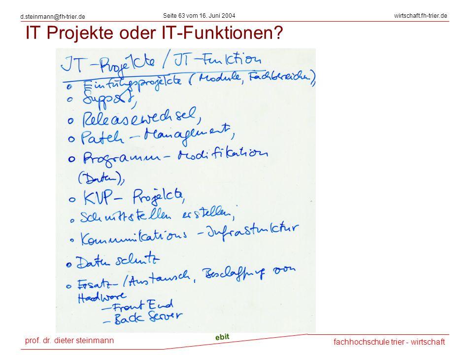 prof. dr. dieter steinmann Seite 63 vom 16. Juni 2004 ebit fachhochschule trier - wirtschaft wirtschaft.fh-trier.de d.steinmann@fh-trier.de IT Projekt