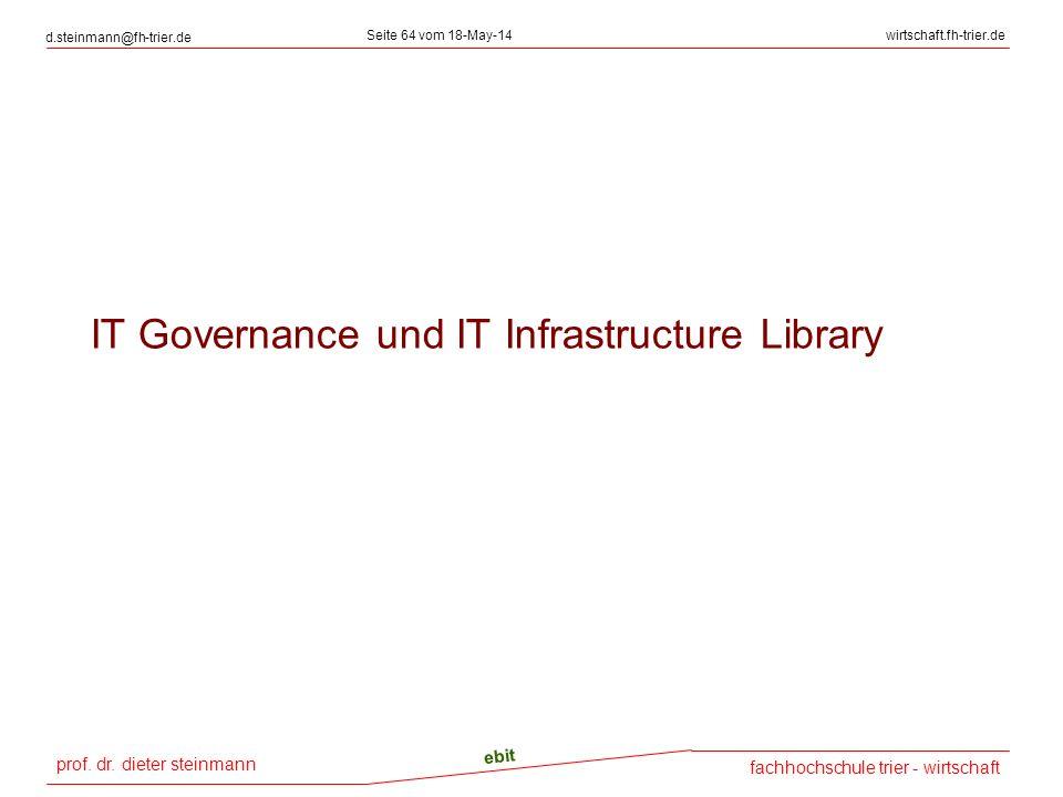 prof. dr. dieter steinmann d.steinmann@fh-trier.de Seite 64 vom 18-May-14wirtschaft.fh-trier.de fachhochschule trier - wirtschaft ebit IT Governance u