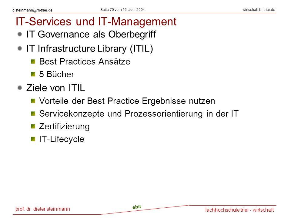prof. dr. dieter steinmann Seite 70 vom 16. Juni 2004 ebit fachhochschule trier - wirtschaft wirtschaft.fh-trier.de d.steinmann@fh-trier.de IT-Service