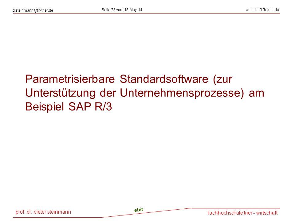 prof. dr. dieter steinmann d.steinmann@fh-trier.de Seite 73 vom 18-May-14wirtschaft.fh-trier.de fachhochschule trier - wirtschaft ebit Parametrisierba