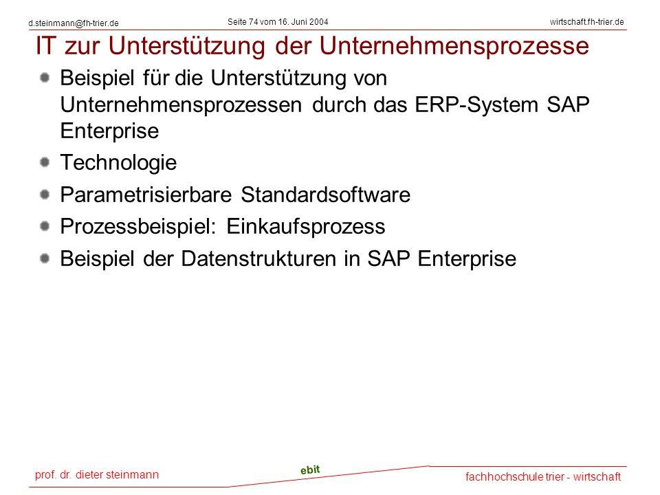prof. dr. dieter steinmann Seite 74 vom 16. Juni 2004 ebit fachhochschule trier - wirtschaft wirtschaft.fh-trier.de d.steinmann@fh-trier.de IT zur Unt
