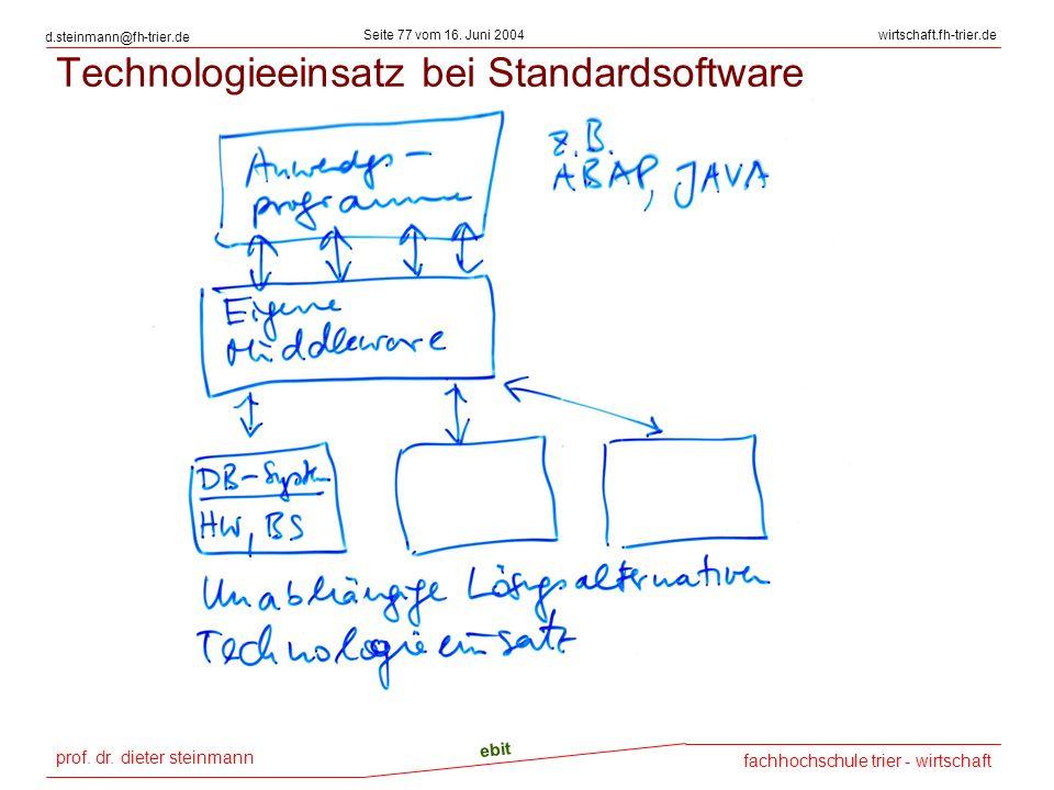 prof. dr. dieter steinmann Seite 77 vom 16. Juni 2004 ebit fachhochschule trier - wirtschaft wirtschaft.fh-trier.de d.steinmann@fh-trier.de Technologi