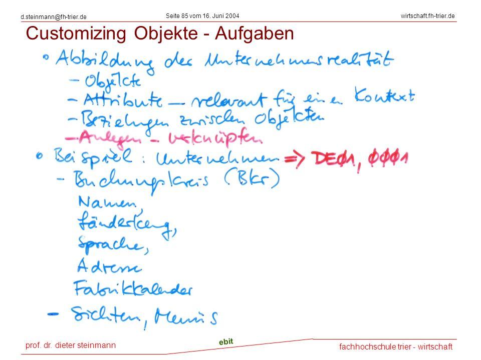 prof. dr. dieter steinmann Seite 85 vom 16. Juni 2004 ebit fachhochschule trier - wirtschaft wirtschaft.fh-trier.de d.steinmann@fh-trier.de Customizin