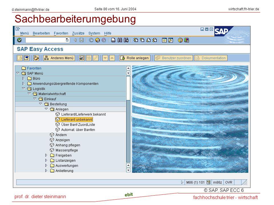 prof. dr. dieter steinmann Seite 86 vom 16. Juni 2004 ebit fachhochschule trier - wirtschaft wirtschaft.fh-trier.de d.steinmann@fh-trier.de Sachbearbe