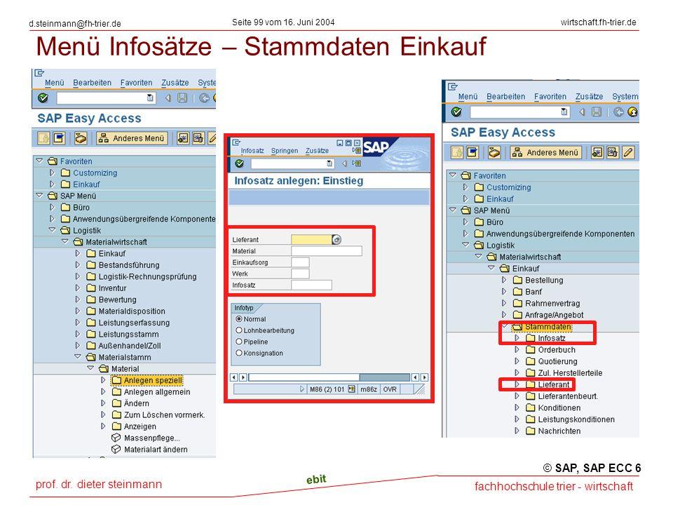 prof. dr. dieter steinmann Seite 99 vom 16. Juni 2004 ebit fachhochschule trier - wirtschaft wirtschaft.fh-trier.de d.steinmann@fh-trier.de Menü Infos