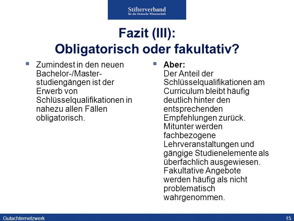 Gutachternetzwerk15 Fazit (III): Obligatorisch oder fakultativ.