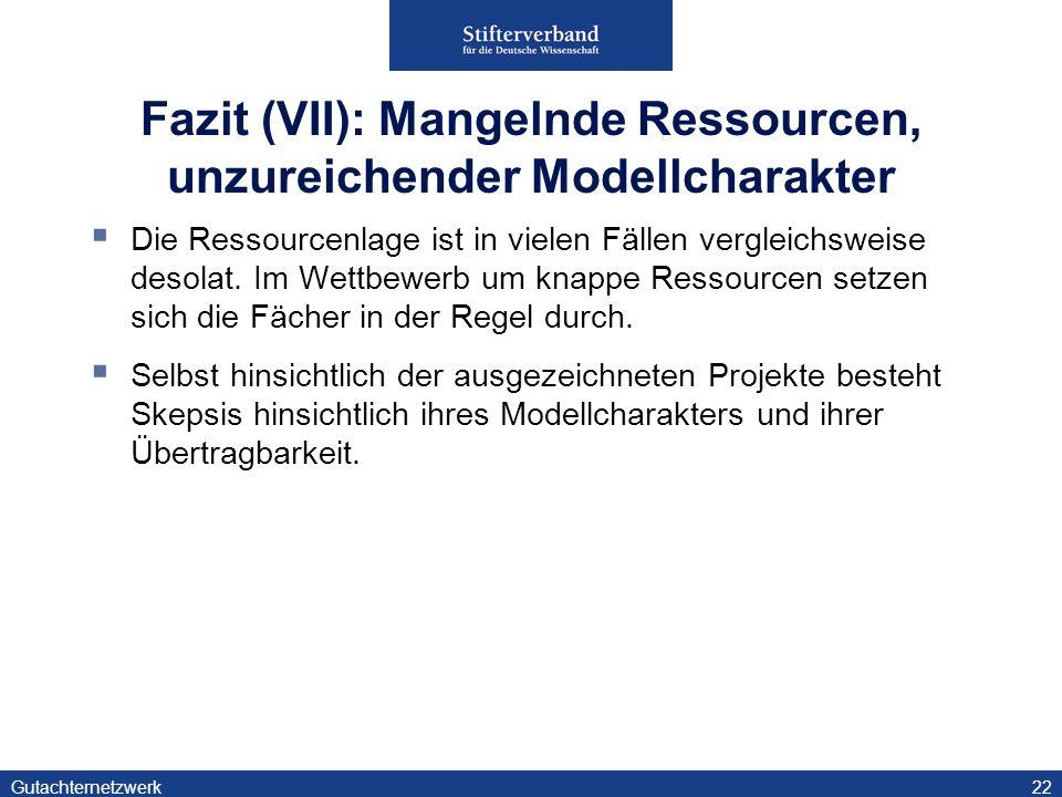 Gutachternetzwerk22 Fazit (VII): Mangelnde Ressourcen, unzureichender Modellcharakter Die Ressourcenlage ist in vielen Fällen vergleichsweise desolat.