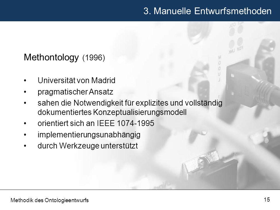 3. Manuelle Entwurfsmethoden Methodik des Ontologieentwurfs 15 Methontology (1996) Universität von Madrid pragmatischer Ansatz sahen die Notwendigkeit