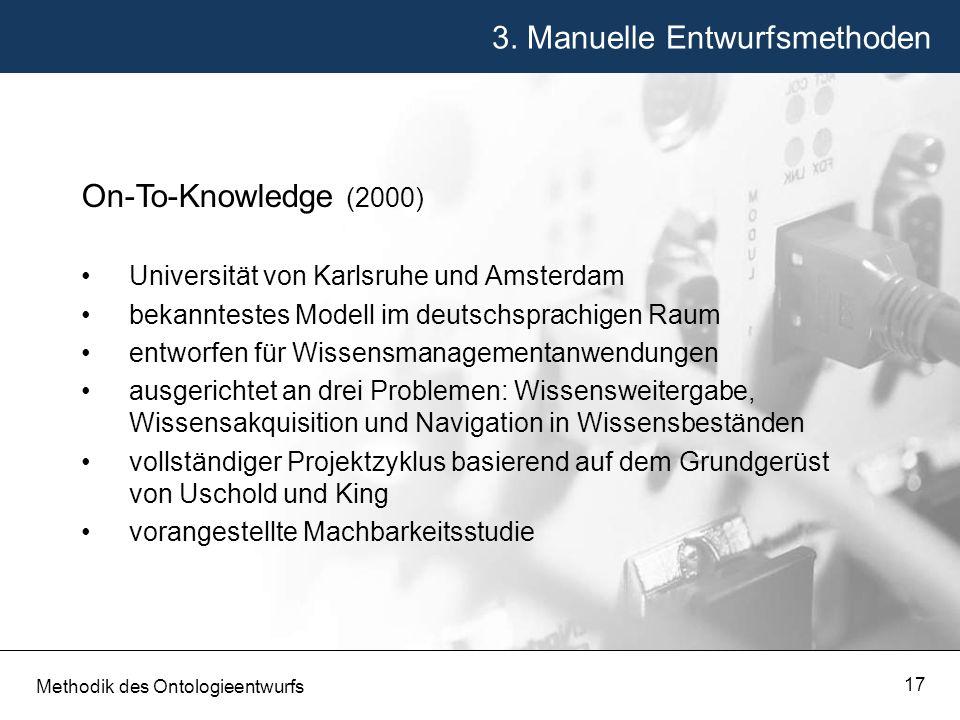 3. Manuelle Entwurfsmethoden Methodik des Ontologieentwurfs 17 On-To-Knowledge (2000) Universität von Karlsruhe und Amsterdam bekanntestes Modell im d