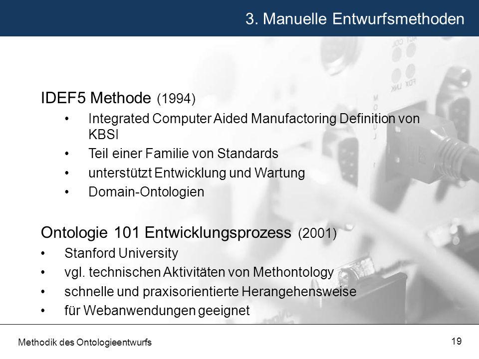 3. Manuelle Entwurfsmethoden Methodik des Ontologieentwurfs 19 IDEF5 Methode (1994) Integrated Computer Aided Manufactoring Definition von KBSI Teil e