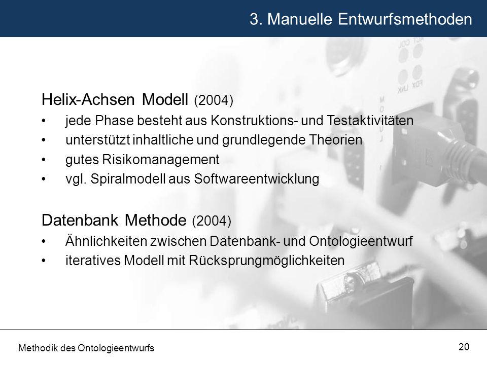 3. Manuelle Entwurfsmethoden Methodik des Ontologieentwurfs 20 Helix-Achsen Modell (2004) jede Phase besteht aus Konstruktions- und Testaktivitäten un