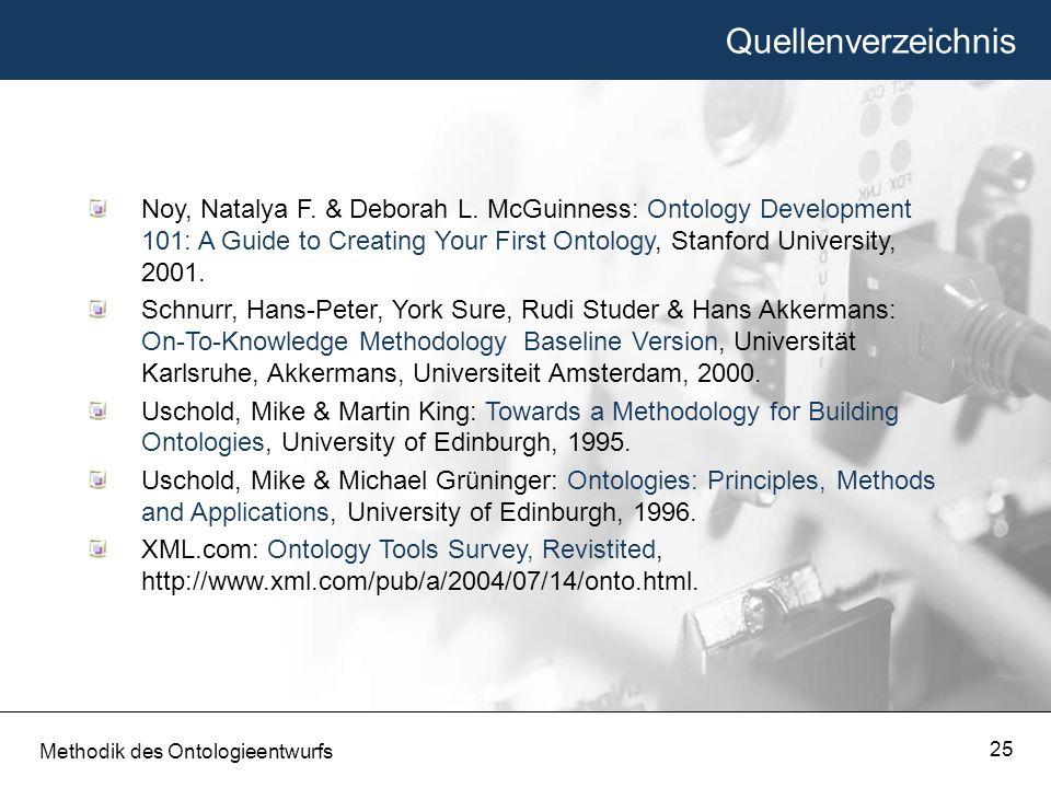 Quellenverzeichnis Methodik des Ontologieentwurfs 25 Noy, Natalya F. & Deborah L. McGuinness: Ontology Development 101: A Guide to Creating Your First