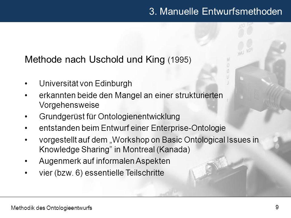 3. Manuelle Entwurfsmethoden Methodik des Ontologieentwurfs 9 Methode nach Uschold und King (1995) Universität von Edinburgh erkannten beide den Mange