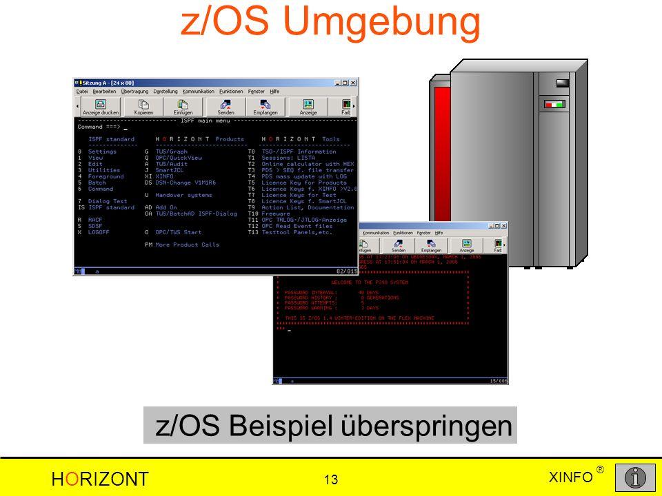 XINFO HORIZONT 13 ® z/OS Umgebung z/OS Beispiel überspringen