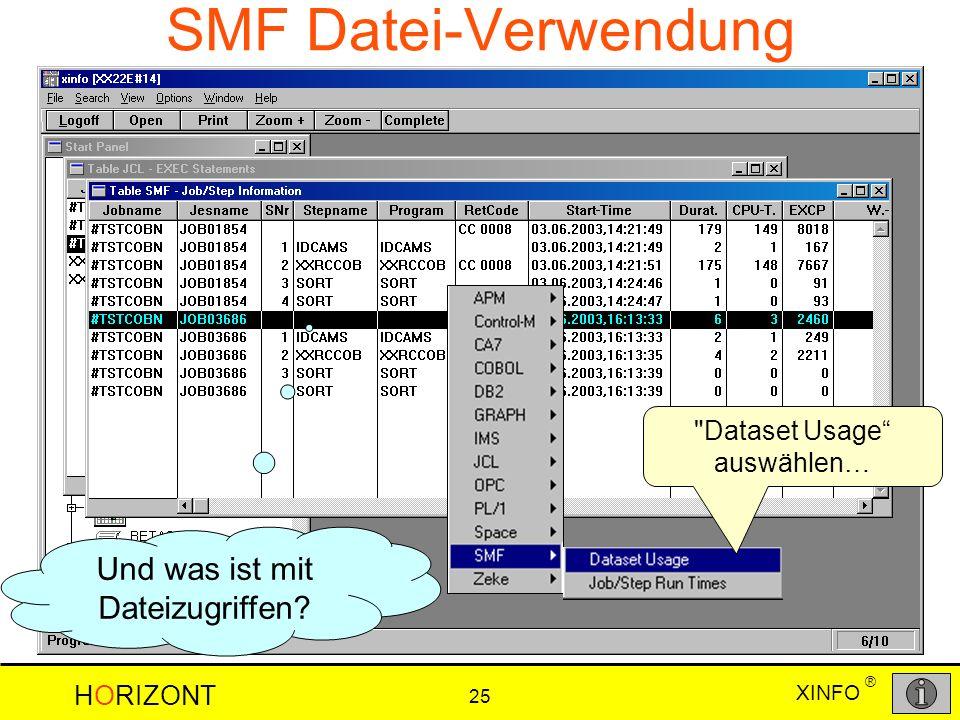 XINFO HORIZONT 25 ® SMF Datei-Verwendung Und was ist mit Dateizugriffen?