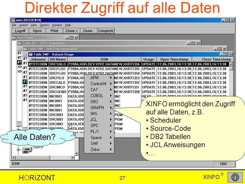 XINFO HORIZONT 27 ® Direkter Zugriff auf alle Daten Alle Daten? XINFO ermöglicht den Zugriff auf alle Daten, z.B. Scheduler Source-Code DB2 Tabellen J