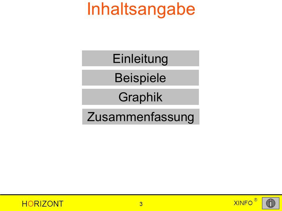XINFO HORIZONT 3 ® Inhaltsangabe Beispiele Graphik Einleitung Zusammenfassung