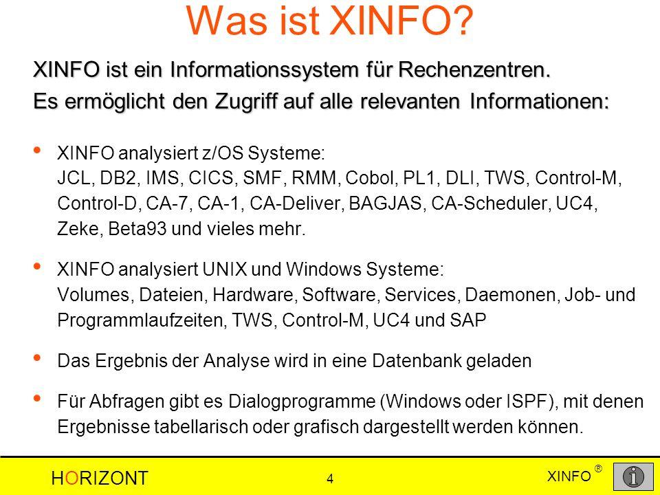XINFO HORIZONT 4 ® Was ist XINFO? XINFO analysiert z/OS Systeme: JCL, DB2, IMS, CICS, SMF, RMM, Cobol, PL1, DLI, TWS, Control-M, Control-D, CA-7, CA-1