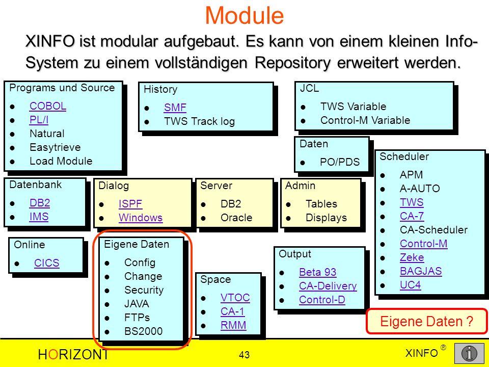 XINFO HORIZONT 43 ® Module XINFO ist modular aufgebaut. Es kann von einem kleinen Info- System zu einem vollständigen Repository erweitert werden. Sch
